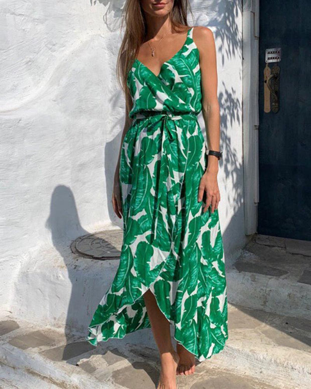 Leaf Print Tie Waist Midi Dress