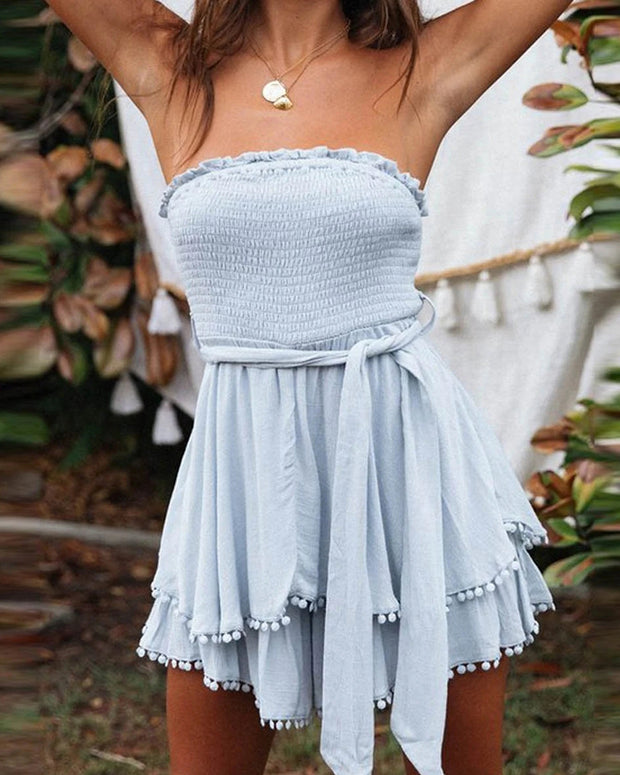 Pom Pom Bandeau Shirring Design Dress