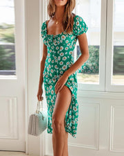 Floral Square Neck Slit Dress