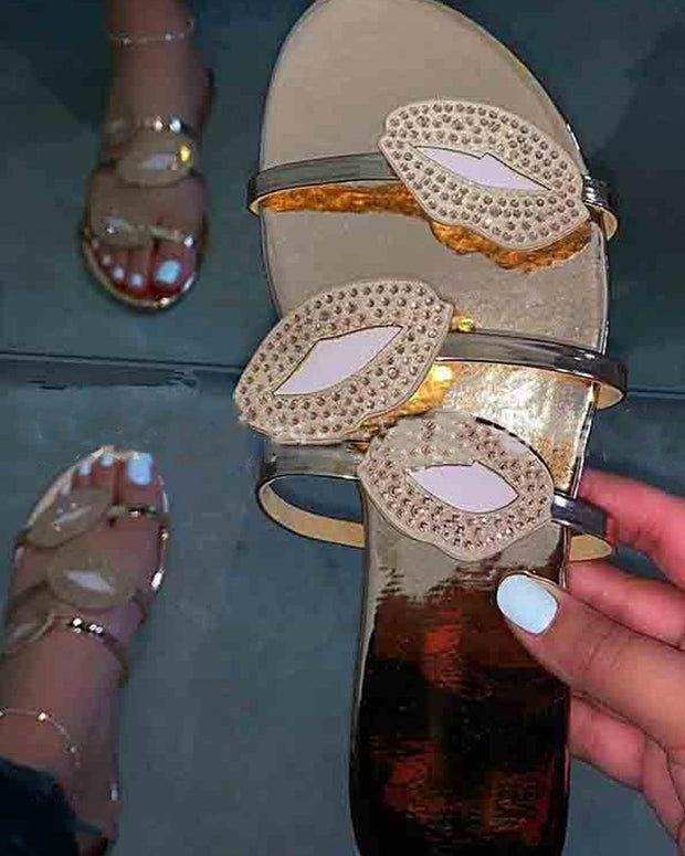 Rhinestone Embellshed Slide Sandals