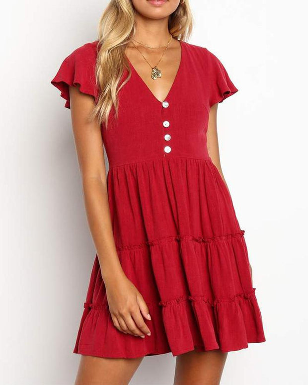 Fit & Flare Ruffle Dress