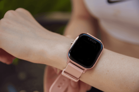 Person wearing pink ndur smartwatch iphone and android bluetooth new  cheap smartwatches