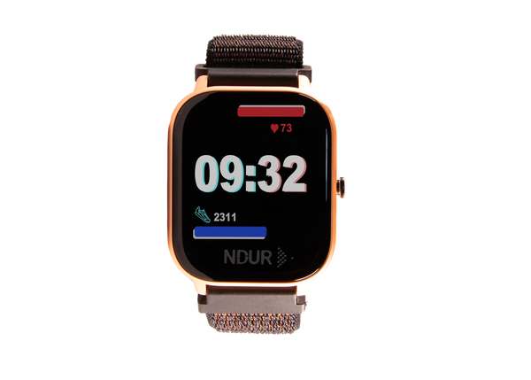 Rose gold ndur smartwatch bluetooth for iphone and android devices. cheap smartwatches under $100