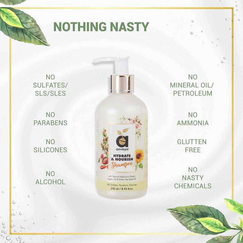 No nasty chemicals on anveya hydrate and nourish shampoo