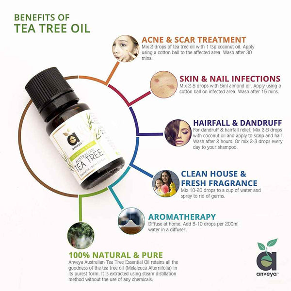 Benefits of Anveya Tea tree Oil for acne, hair, skin