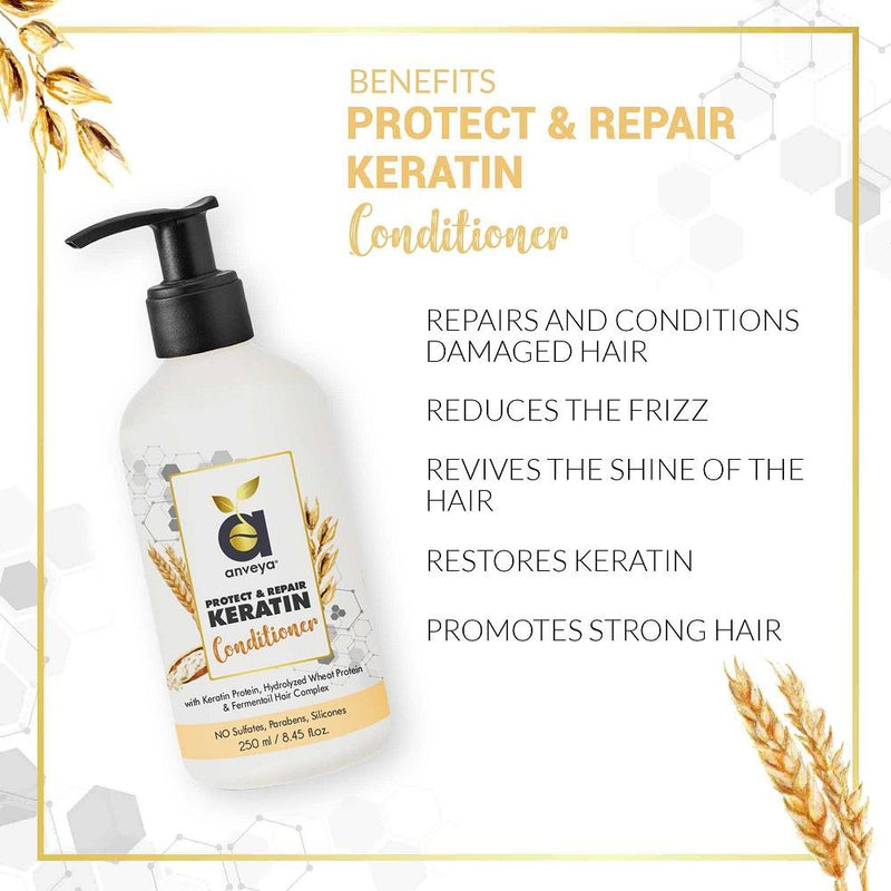 Keratin Protein Hair Care & Hair Growth Summer Kit:  Hair Growth Vitalizer + Protect & Repair Keratin Combo: Shampoo, Conditioner & Serum