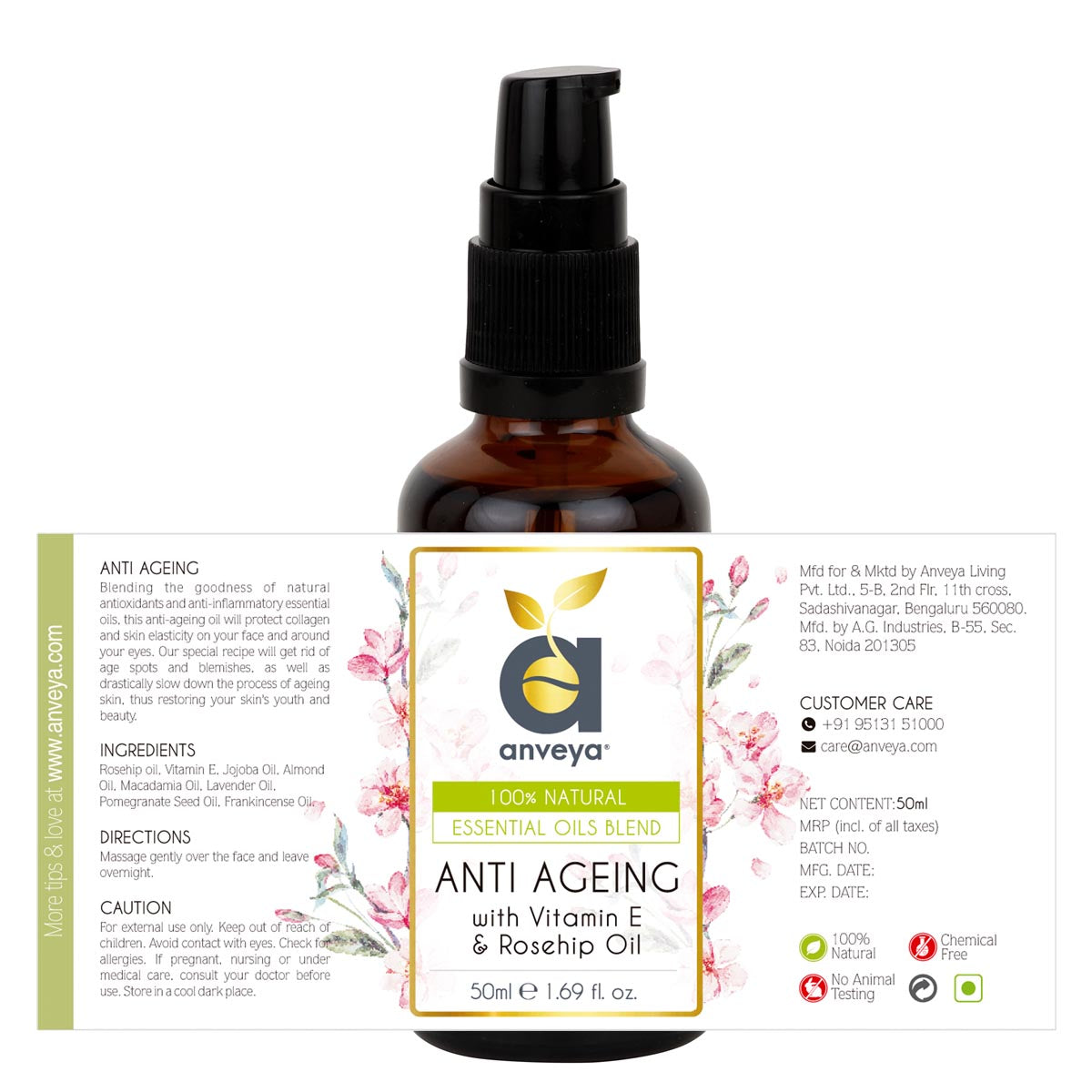 open label of anveya anti ageing oil