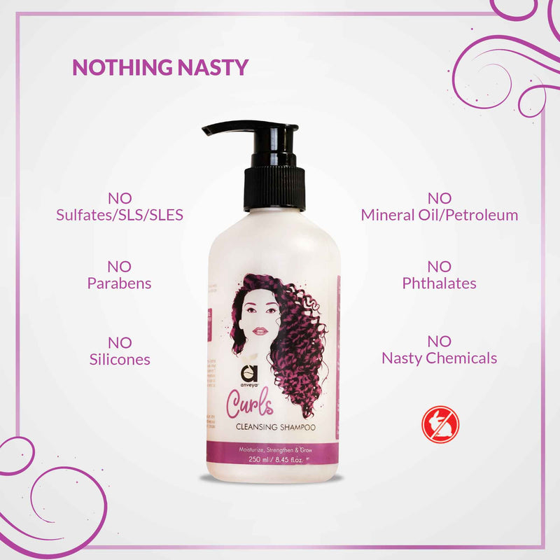 Curls Cleansing Shampoo, 250ml, for Bouncy & Tangle-Free, Curly Hair