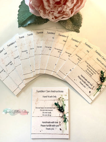 "Tumbler Care Cards ""Farmhouse"""