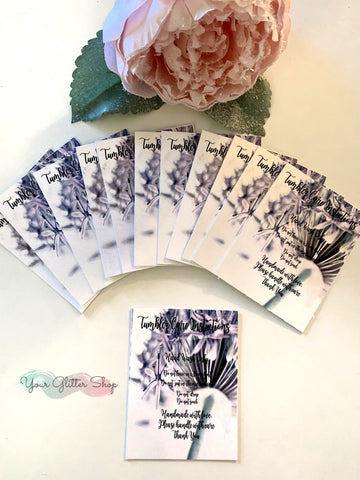 "Tumbler Care Cards ""Lilac Flowers"""