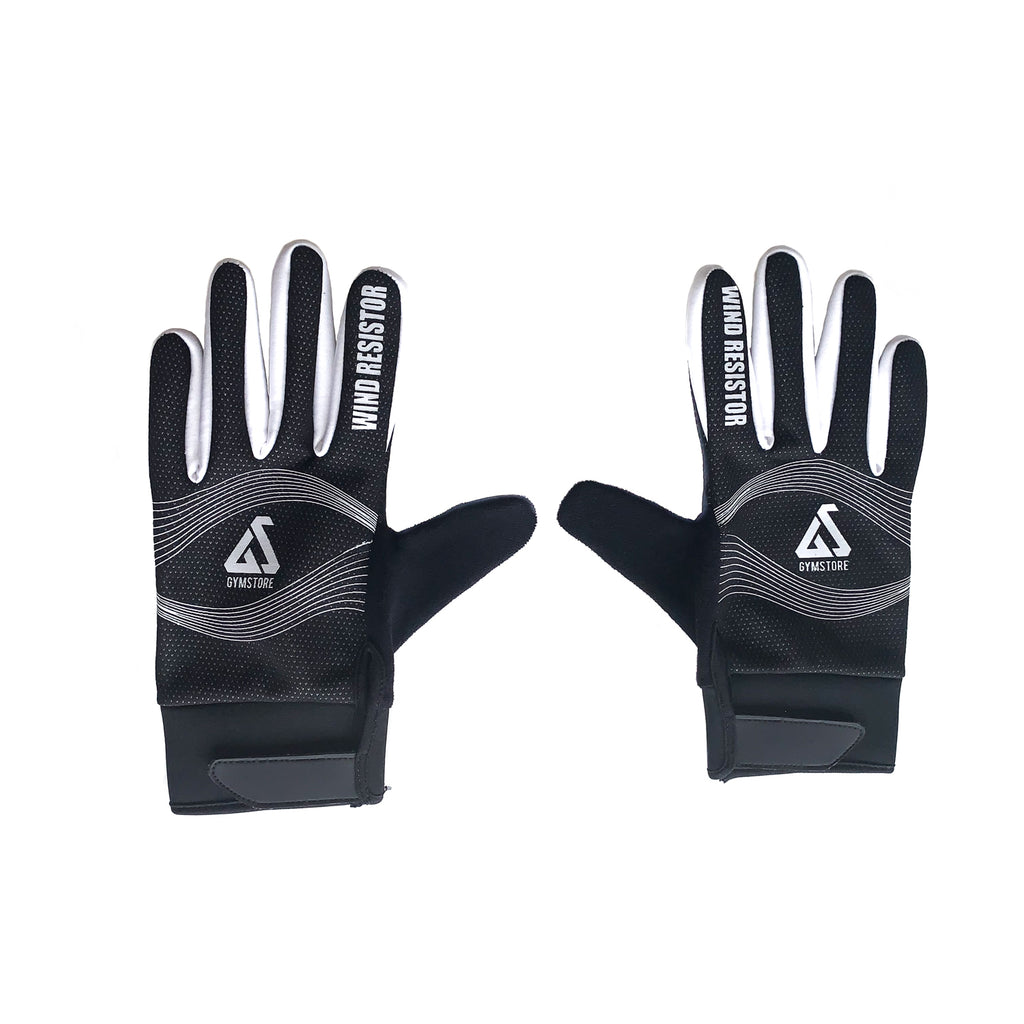 Gymstore Black/White Cycling Gloves Wind Stopper