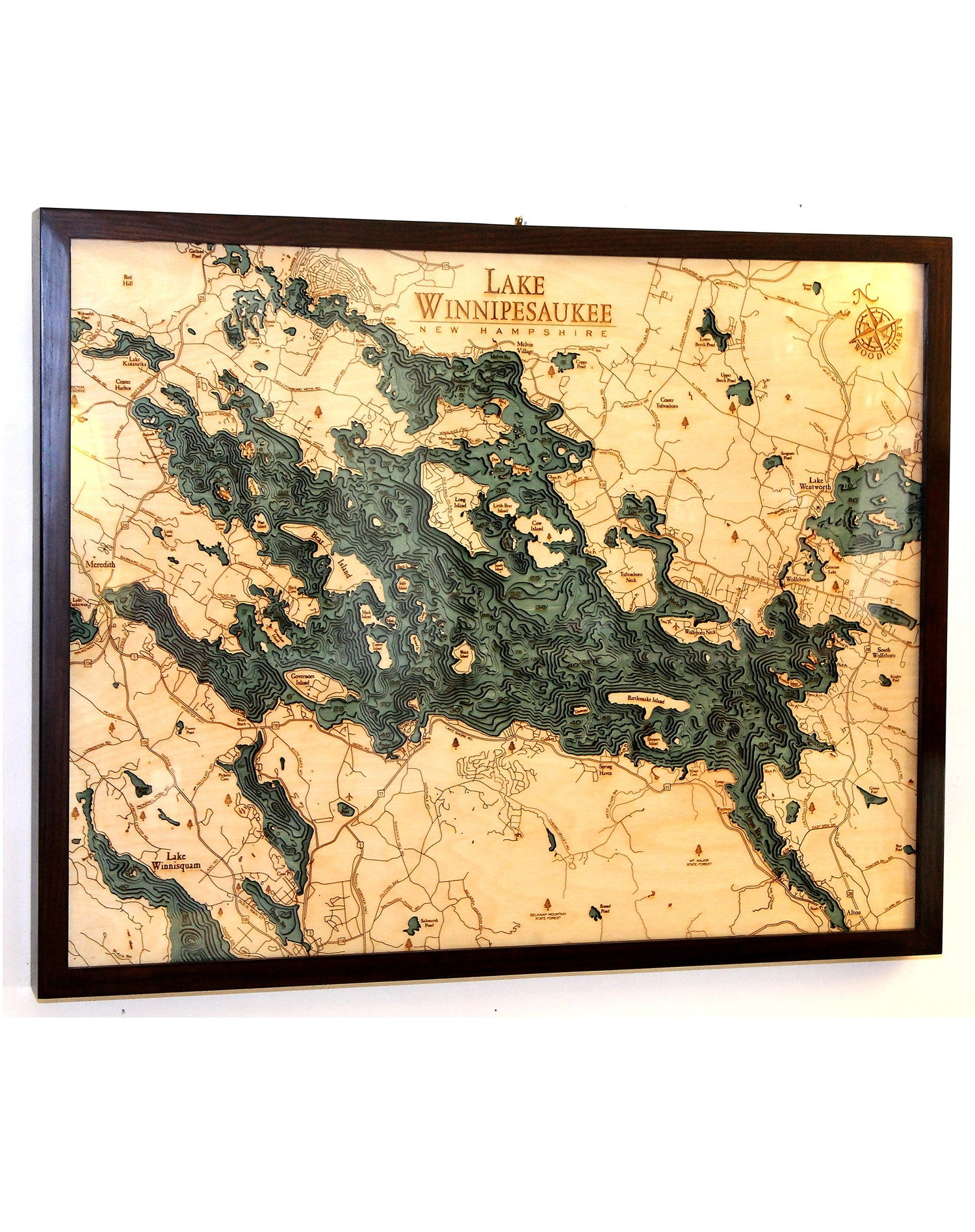 Lake Winnipesaukee Woodcut Chart | Home Comfort