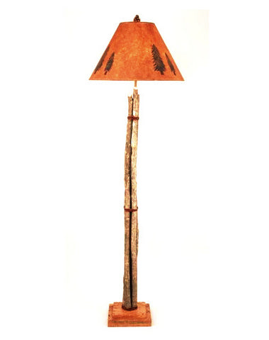 Twig And Leather Floor Lamp With Round Shade