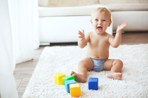 A happy baby during playtime