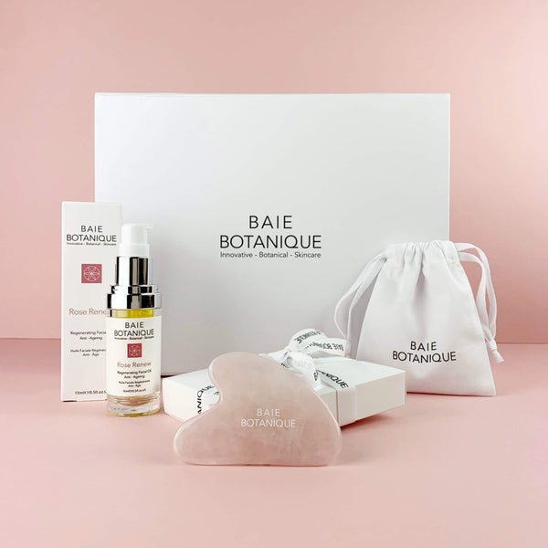 Rosenquarz Gua Sha plus Rose Renew Gesichtsöl + GESCHENKBOX BUNDLE