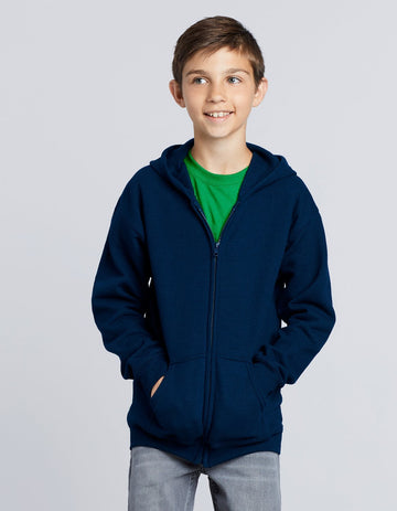 18600B Gildan Heavy Blend Youth Full Zip Hooded Sweatshirt - Panther Teamwear