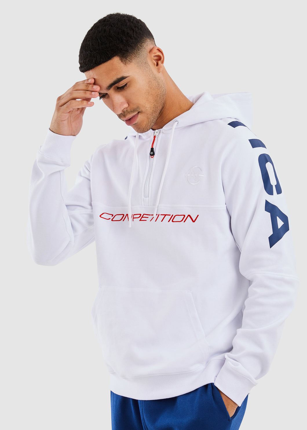 Port 1/2 Zip Hoody - White