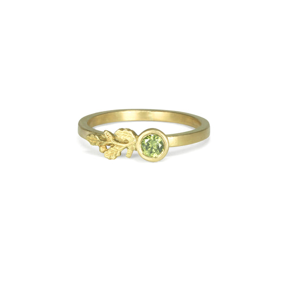 Green Diamond Oak Branch Ring