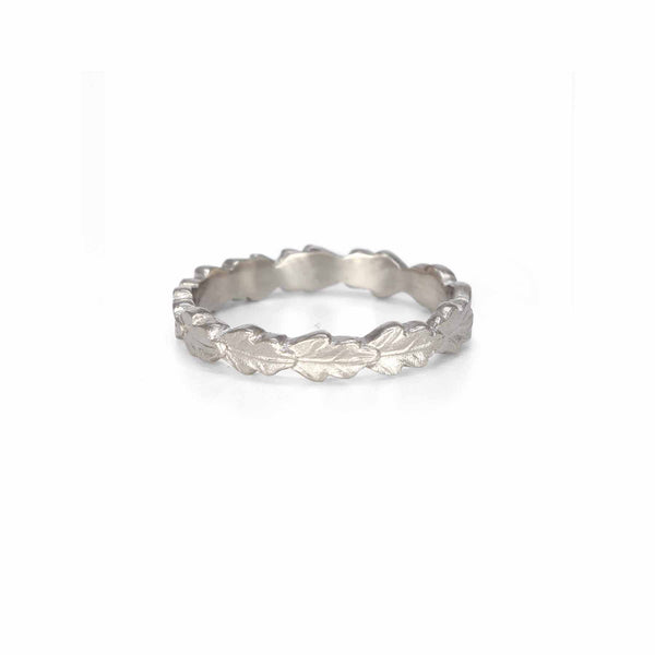 Line of Leaves Band - 3mm in White Gold