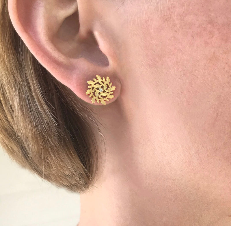 Star Earrings with Diamond