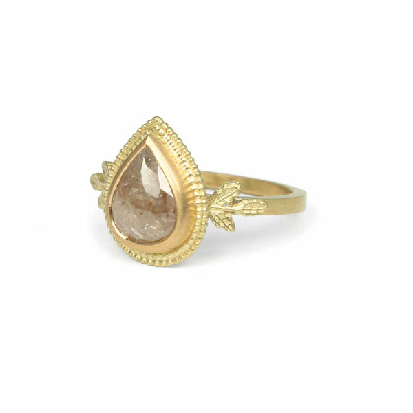 Dusty Pink Diamond Oak Ring