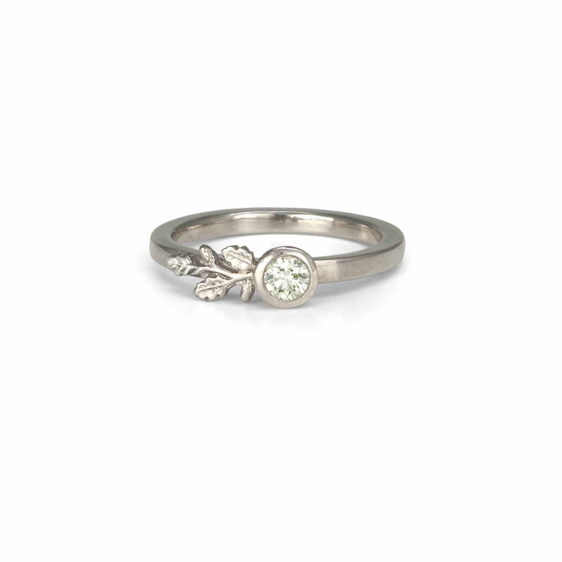 White Diamond Oak Branch Ring