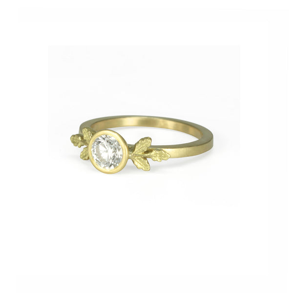 White Diamond Oak Ring