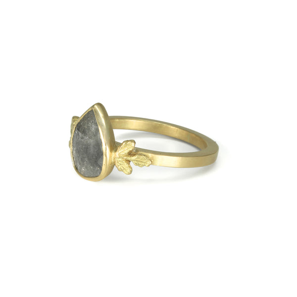 Grey Pear Diamond Oak Ring