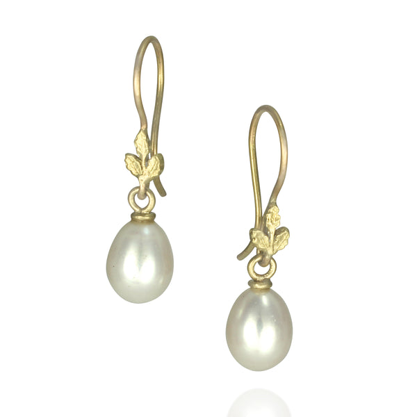 Oak-leaf Pearl Earrings
