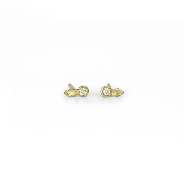 Mini Oak Diamond Studs