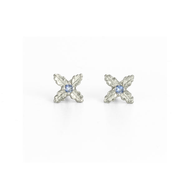 Quatrefoil Sapphire Earrings in White Gold