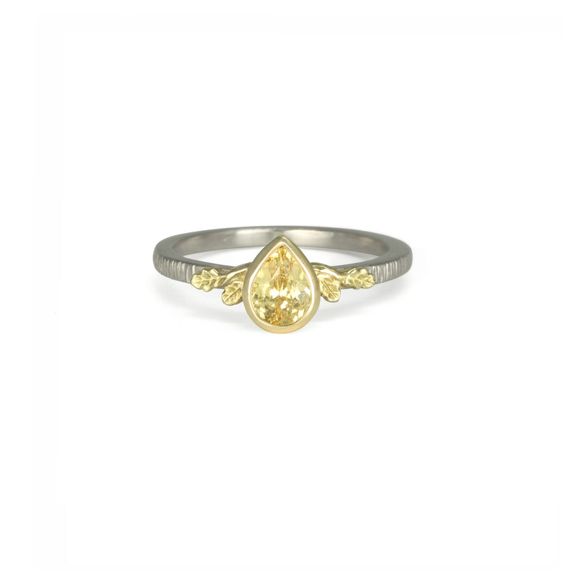 Yellow Sapphire Oak leaves Ring