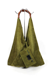 Genuine Suede Soft Shoulder Bag with Leather Handle