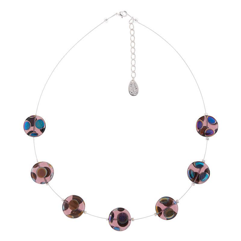 Irridescent Puddles Glass Disc Necklace - Purple
