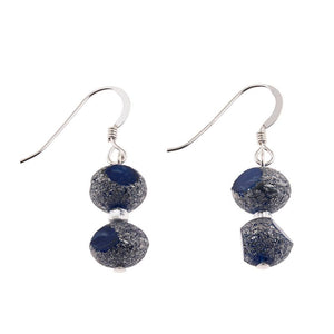 Blue Meteor Glass Bead Earrings
