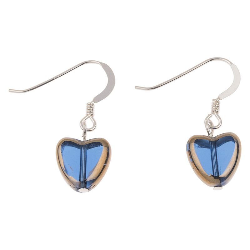Blue Golden Edged Hearts Glass Earrings