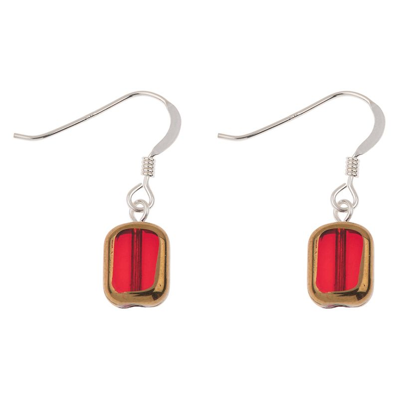 Red Golden Edges Glass Earrings
