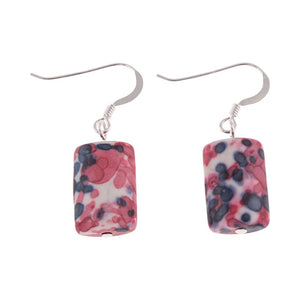 Pink Rainflower Glass Earrings