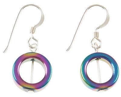 Haematite Spectrum Circles Earrings