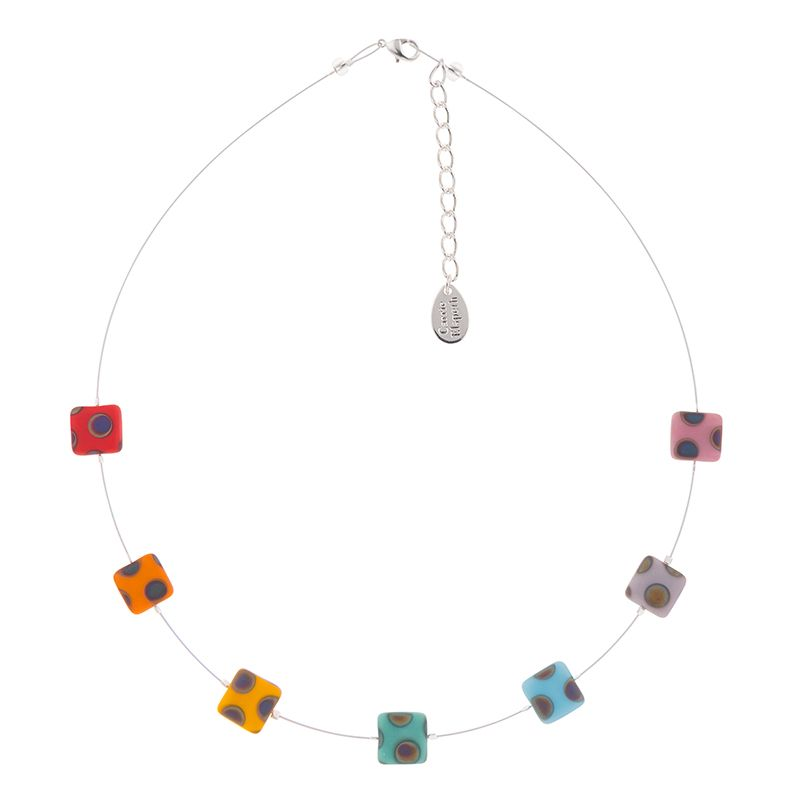 Rainbow Squares Matt Glass Necklace
