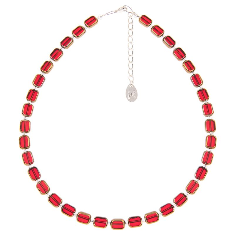 Red Golden Edges Glass Necklace