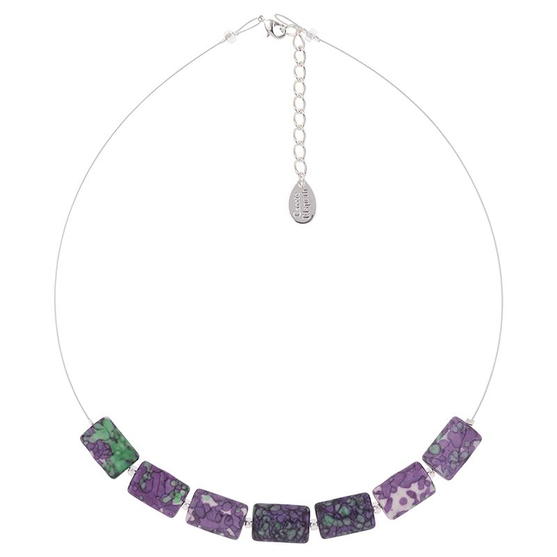 Purple Rainflower Glass Necklace