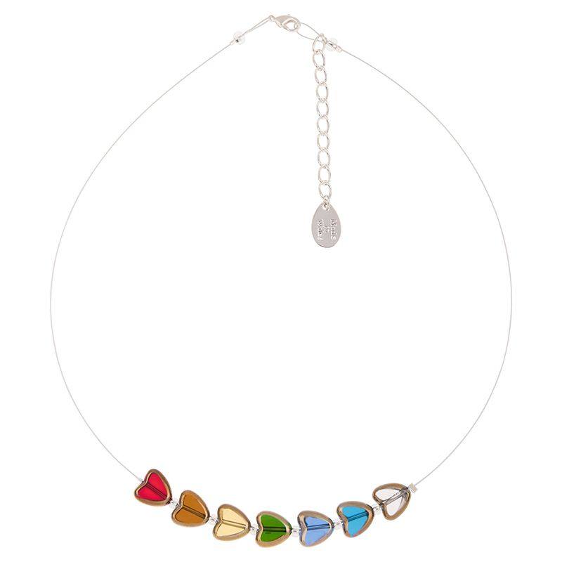 Golden Edged Hearts Glass Necklace