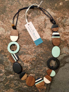 Wood & Resin Multi Shapes Necklace Long