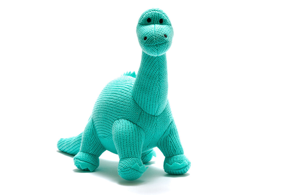 Knitted Blue Diplodocus Rattle