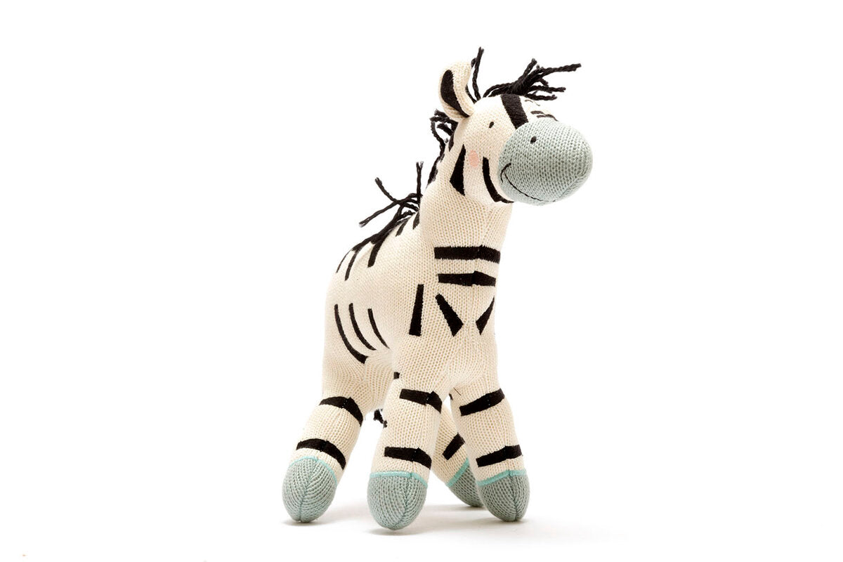 Knitted Organic Zebra Large Toy