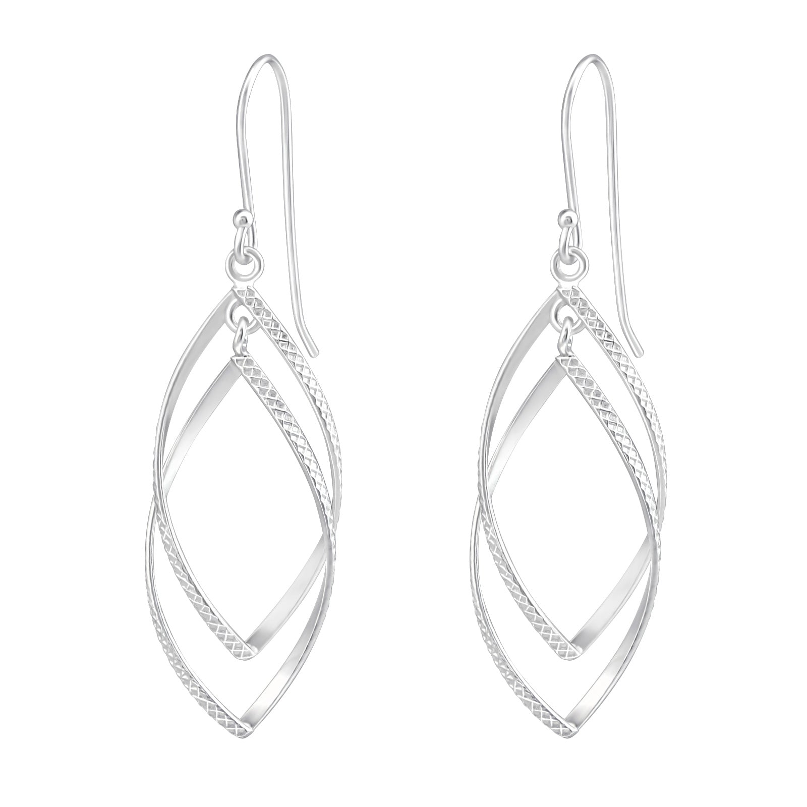 Sterling Silver Twisted Drop Earrings.