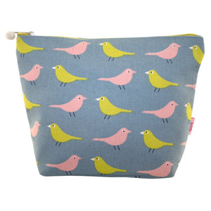 Printed Cotton Cosmetic Bag - Multi Bird