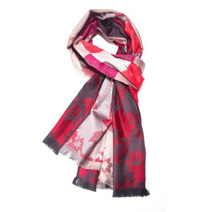Pashmina Scarf Red Silver Leaves