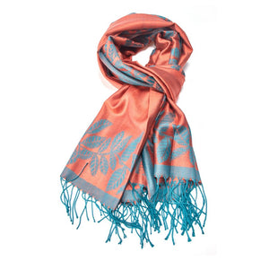 Pashmina Scarf Turquoise/Orange Leaves